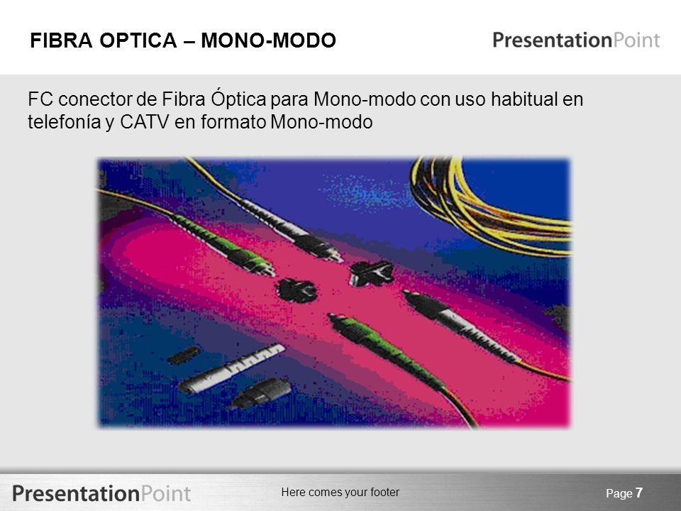 Here comes your footer Page 8 SC conector de Fibra óptica para Mono-modo con uso habitual en telefonía en formato Mono-modo.