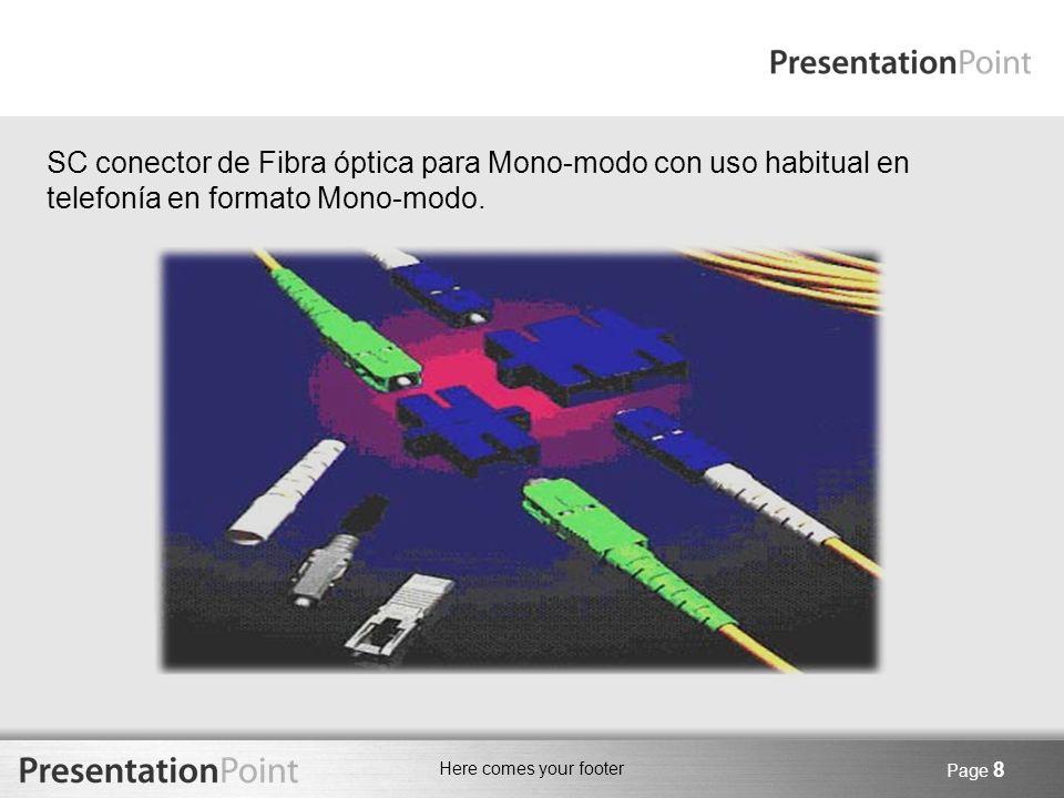 Here comes your footer Page 9 FIBRA OPTICA - TRANCEIVERS Son equipos que son una combinación de transmisor - receptor de información.