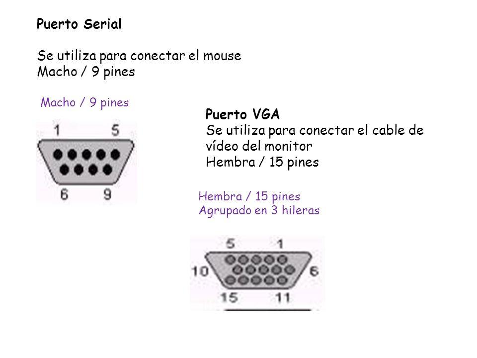 Puerto Serial Se utiliza para conectar el mouse Macho / 9 pines Puerto VGA Se utiliza para conectar el cable de vídeo del monitor Hembra / 15 pines Ma