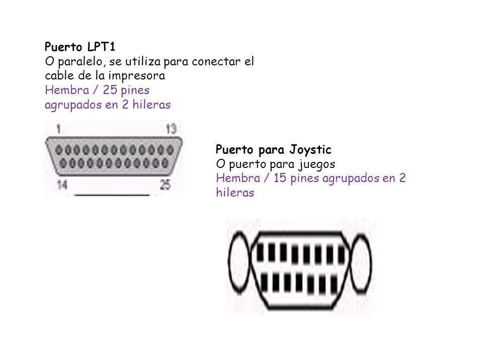 Puerto LPT1 O paralelo, se utiliza para conectar el cable de la impresora Hembra / 25 pines agrupados en 2 hileras Puerto para Joystic O puerto para j