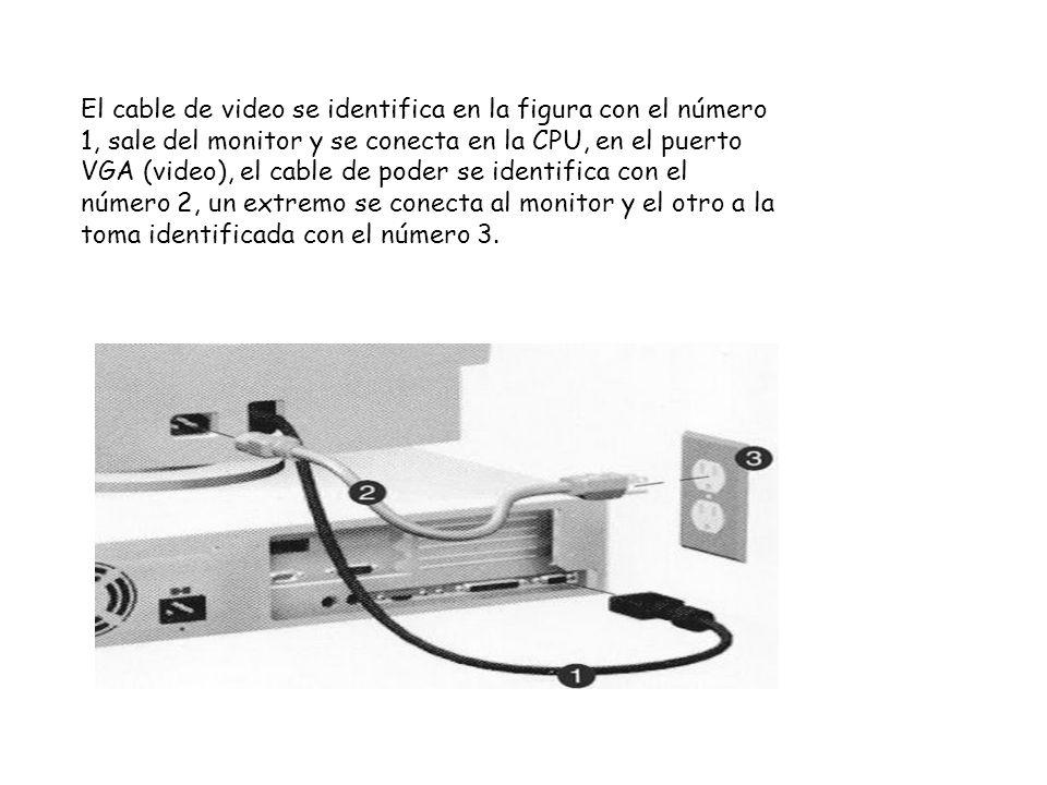 El cable de video se identifica en la figura con el número 1, sale del monitor y se conecta en la CPU, en el puerto VGA (video), el cable de poder se