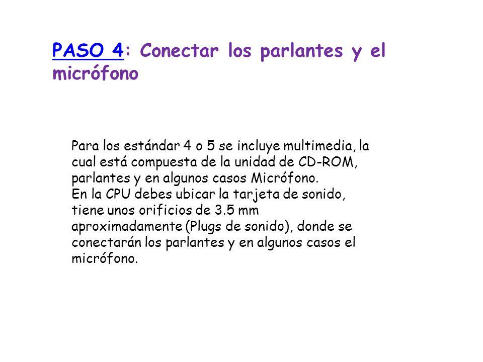 PASO 4PASO 4: Conectar los parlantes y el micrófono Para los estándar 4 o 5 se incluye multimedia, la cual está compuesta de la unidad de CD-ROM, parl