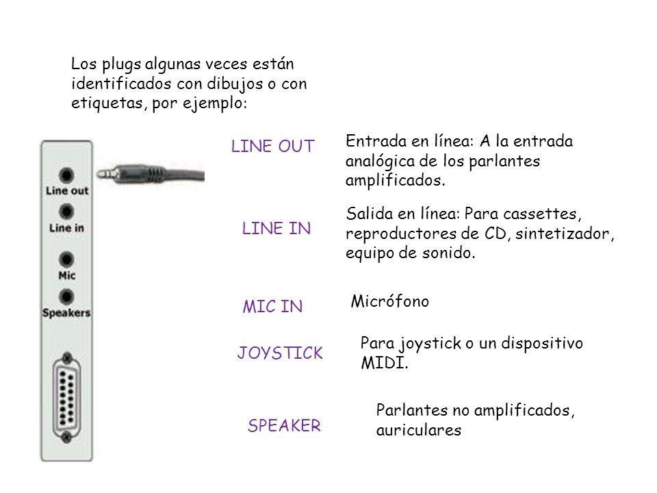 Los plugs algunas veces están identificados con dibujos o con etiquetas, por ejemplo : LINE OUT Entrada en línea: A la entrada analógica de los parlan