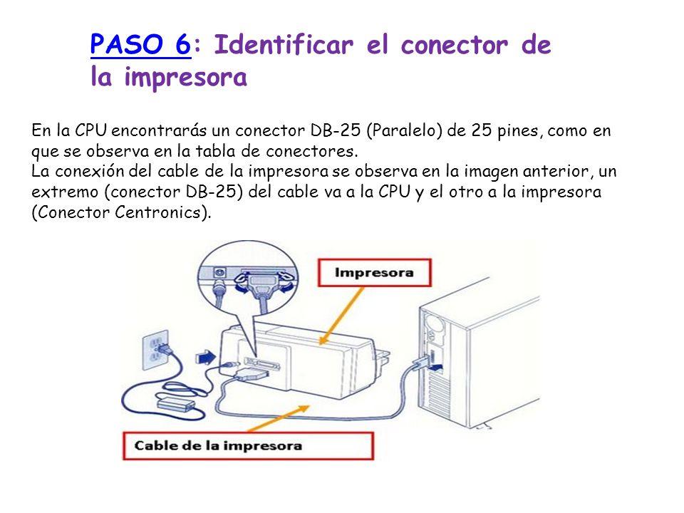 PASO 6PASO 6: Identificar el conector de la impresora En la CPU encontrarás un conector DB-25 (Paralelo) de 25 pines, como en que se observa en la tab