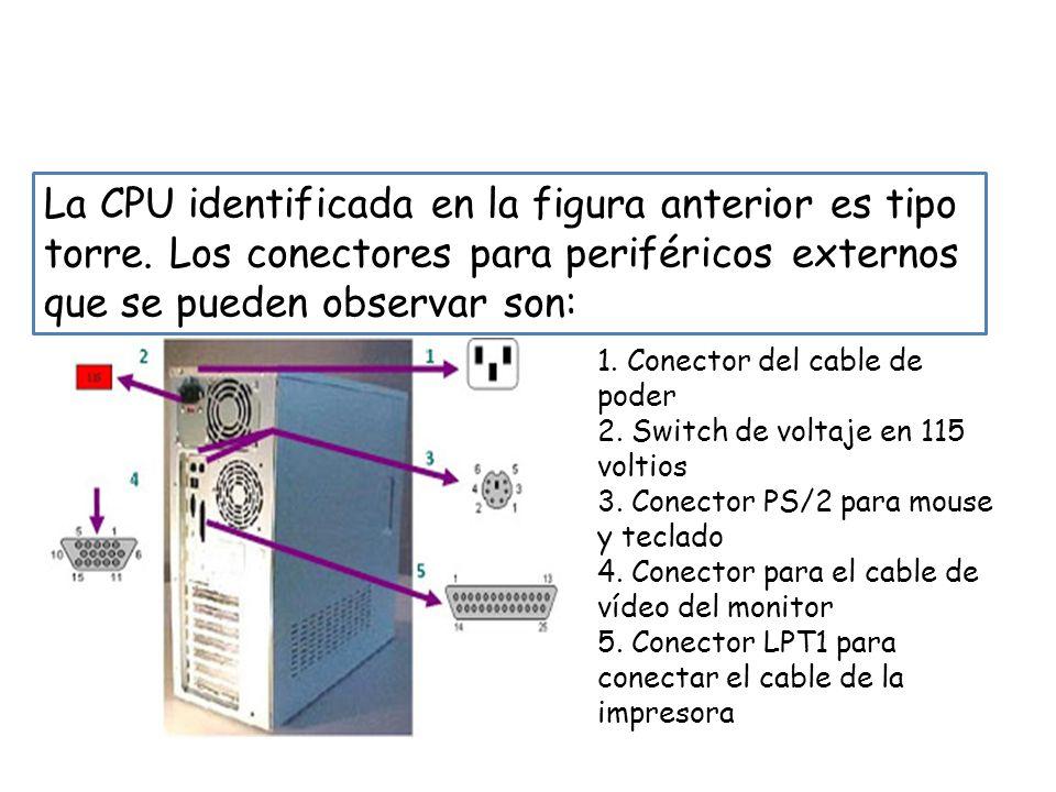 PASO 2: Identificar en la CPU los diferentes tipos de conectores La CPU identificada en la figura anterior es tipo torre. Los conectores para periféri