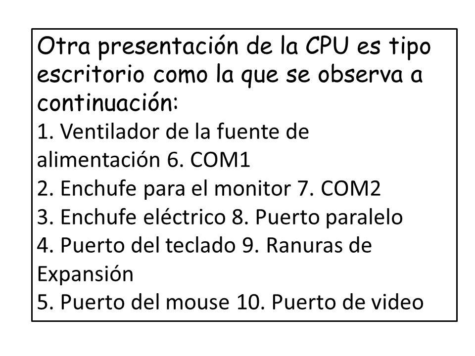 Para mejor comprensión encontrará los tipos de conectores para periféricos externos más comunes identificados en la CPU: DIN Se utiliza para conectar el teclado Hembra/5 pines PS/2 Se utiliza para conectar el teclado o el mouse Hembra/ 6 pines