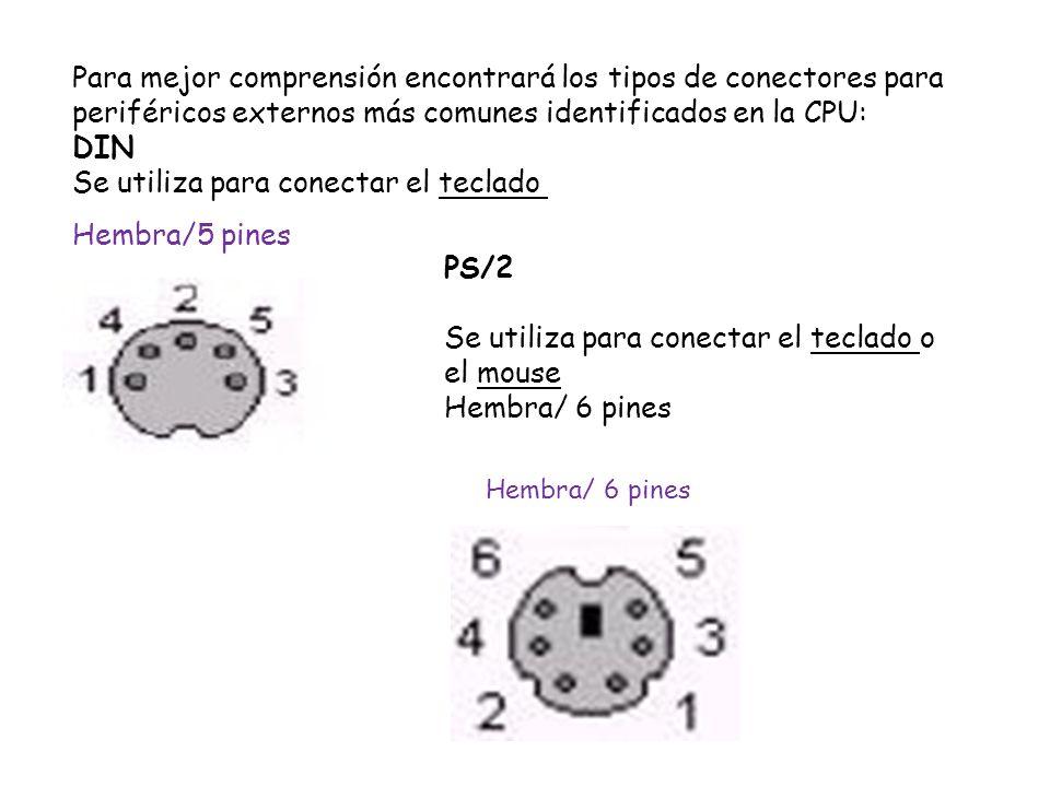 Para mejor comprensión encontrará los tipos de conectores para periféricos externos más comunes identificados en la CPU: DIN Se utiliza para conectar