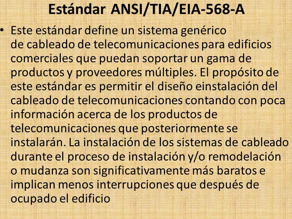 Estándar ANSI/TIA/EIA-568-A Este estándar define un sistema genérico de cableado de telecomunicaciones para edificios comerciales que puedan soportar