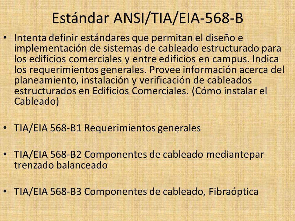 Estándar ANSI/TIA/EIA-568-B Intenta definir estándares que permitan el diseño e implementación de sistemas de cableado estructurado para los edificios