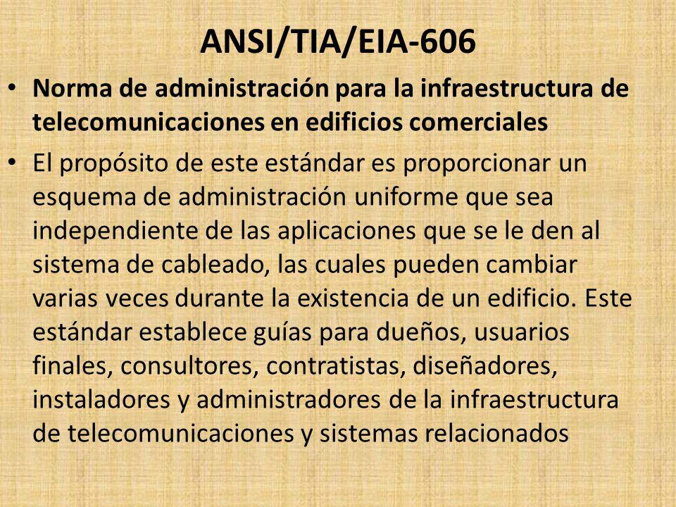 ANSI/TIA/EIA-606 Norma de administración para la infraestructura de telecomunicaciones en edificios comerciales El propósito de este estándar es propo