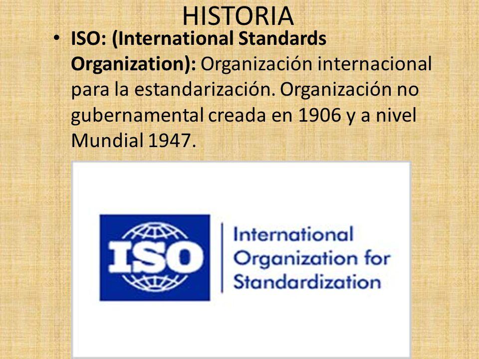 ISO: (International Standards Organization): Organización internacional para la estandarización. Organización no gubernamental creada en 1906 y a nive