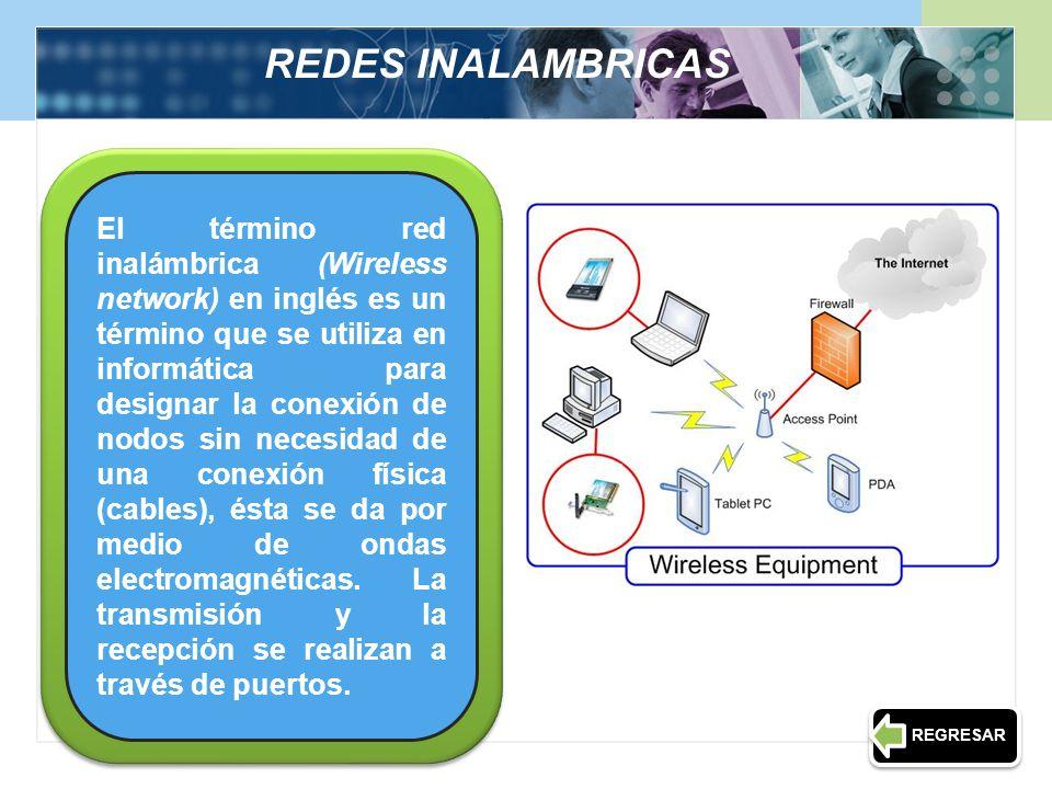 REDES INALAMBRICAS El término red inalámbrica (Wireless network) en inglés es un término que se utiliza en informática para designar la conexión de no