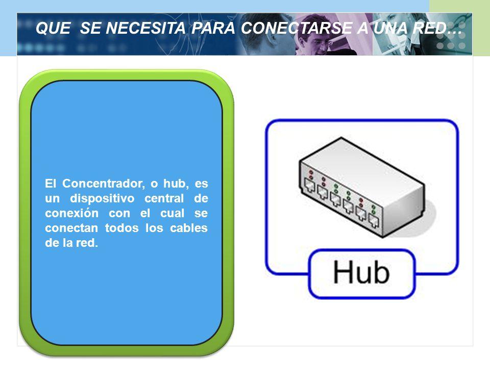 QUE SE NECESITA PARA CONECTARSE A UNA RED… El Concentrador, o hub, es un dispositivo central de conexión con el cual se conectan todos los cables de l