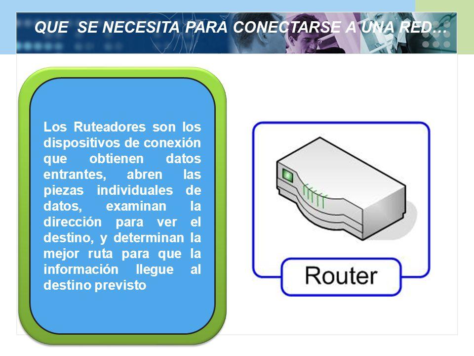 QUE SE NECESITA PARA CONECTARSE A UNA RED… Los Ruteadores son los dispositivos de conexión que obtienen datos entrantes, abren las piezas individuales