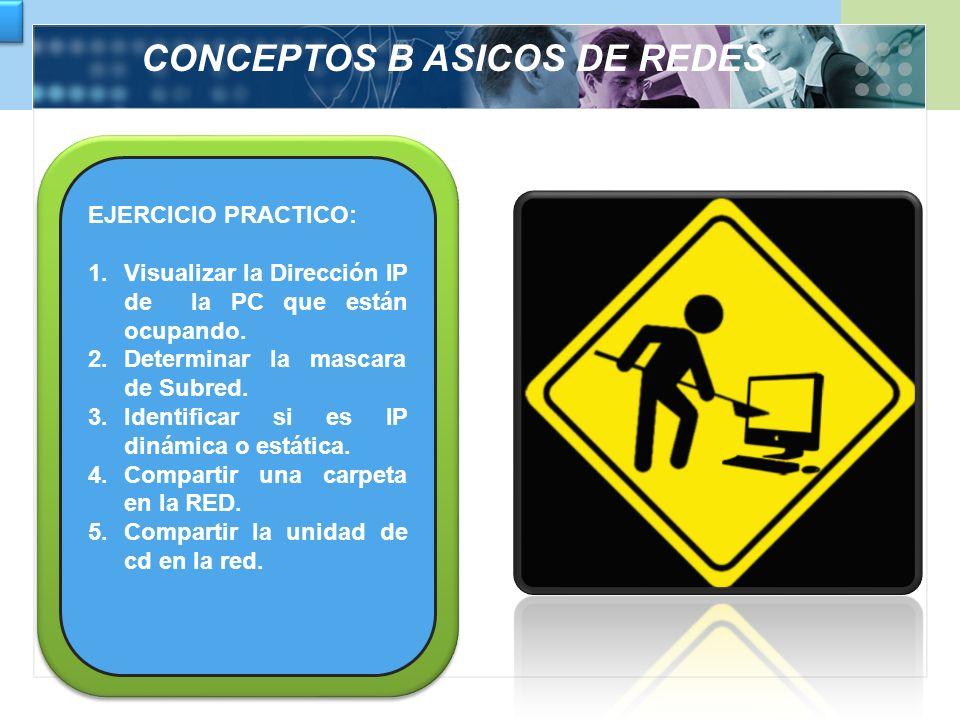 CONCEPTOS B ASICOS DE REDES EJERCICIO PRACTICO: 1.Visualizar la Dirección IP de la PC que están ocupando. 2.Determinar la mascara de Subred. 3.Identif