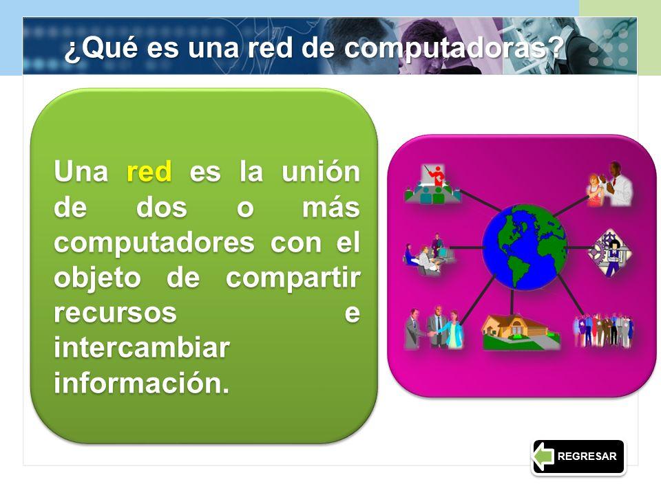 Una red es la unión de dos o más computadores con el objeto de compartir recursos e intercambiar información. ¿Qué es una red de computadoras? REGRESA