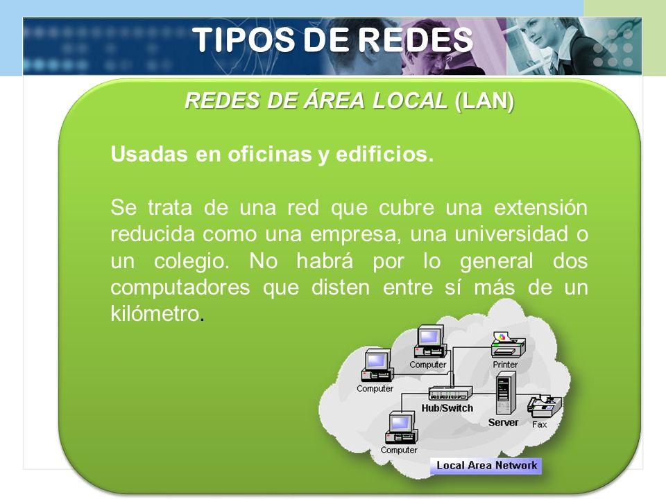 TIPOS DE REDES REDES DE ÁREA LOCAL (LAN) Usadas en oficinas y edificios. Se trata de una red que cubre una extensión reducida como una empresa, una un
