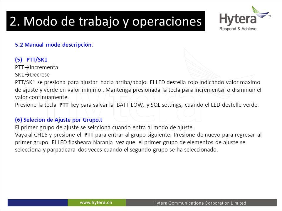 2. Working Mode and Operations 5.2 Manual mode descripción: (5) PTT/SK1 PTTIncrementa SK1Decrese PTT/SK1 se presiona para ajustar hacia arriba/abajo.