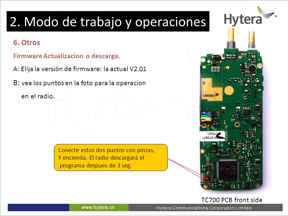 2. Working Mode and Operations 6. Otros Firmware Actualizacion o descarga. A: Elija la versión de firmware: la actual V2.01 B: vea los puntos en la fo