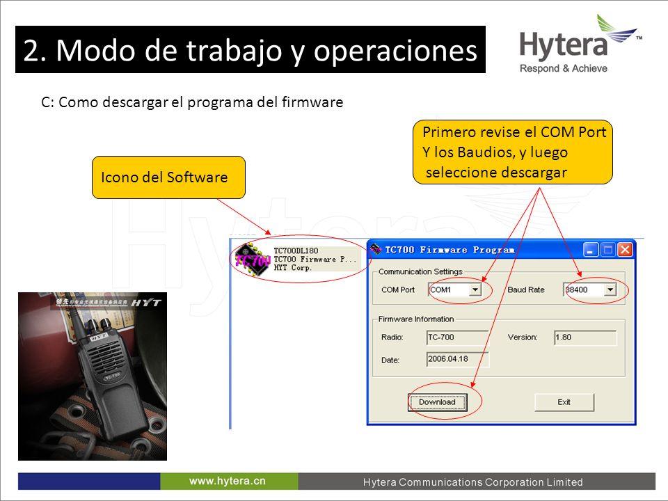 2. Working Mode and Operations C: Como descargar el programa del firmware Icono del Software Primero revise el COM Port Y los Baudios, y luego selecci