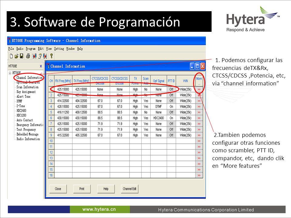 3. Programming software 2.Tambien podemos configurar otras funciones como scrambler, PTT ID, compandor, etc, dando clik en More features 1. Podemos co