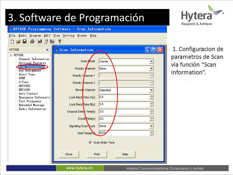 3. Programming software 1. Configuracion de parametros de Scan via función Scan Information. 3. Software de Programación