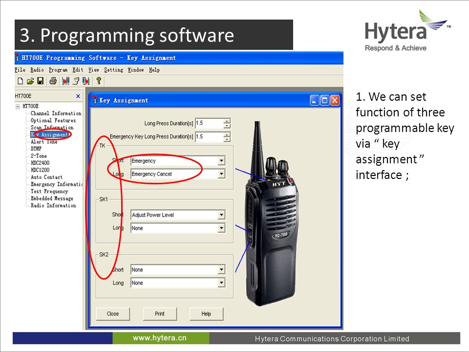 3. Programming software 1. We can set function of three programmable key via key assignment interface ;