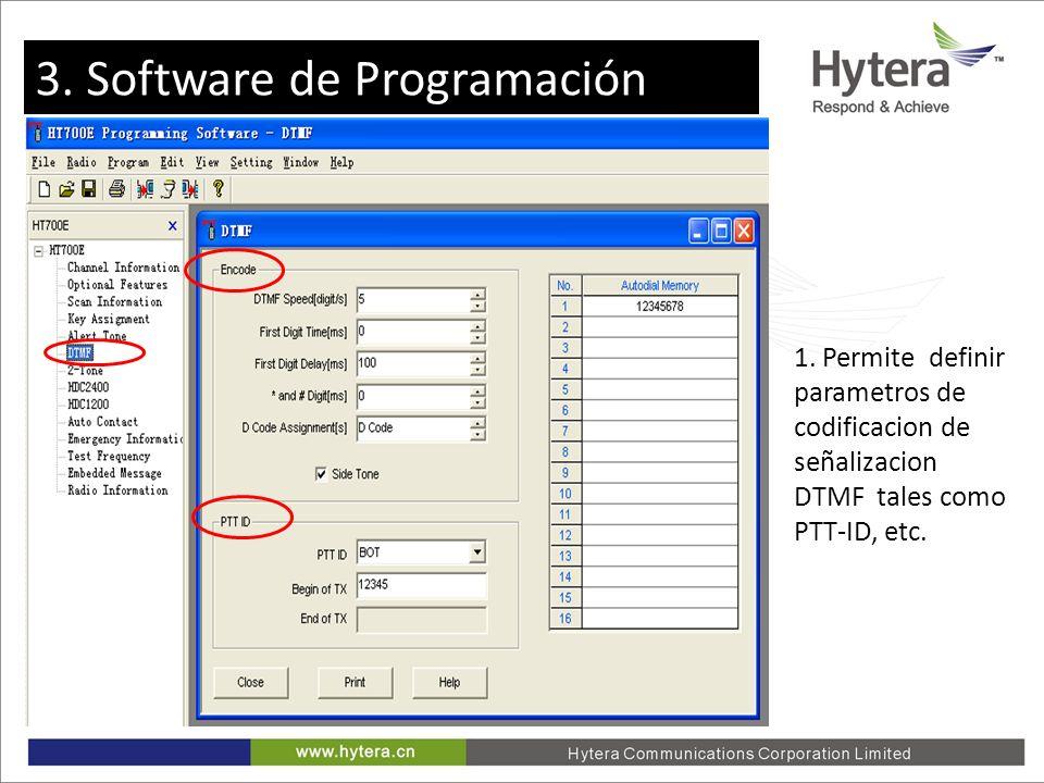 3. Programming software 1. Permite definir parametros de codificacion de señalizacion DTMF tales como PTT-ID, etc. 3. Software de Programación