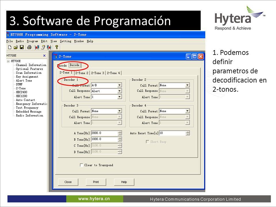 3. Programming software 1. Podemos definir parametros de decodificacion en 2-tonos. 3. Software de Programación