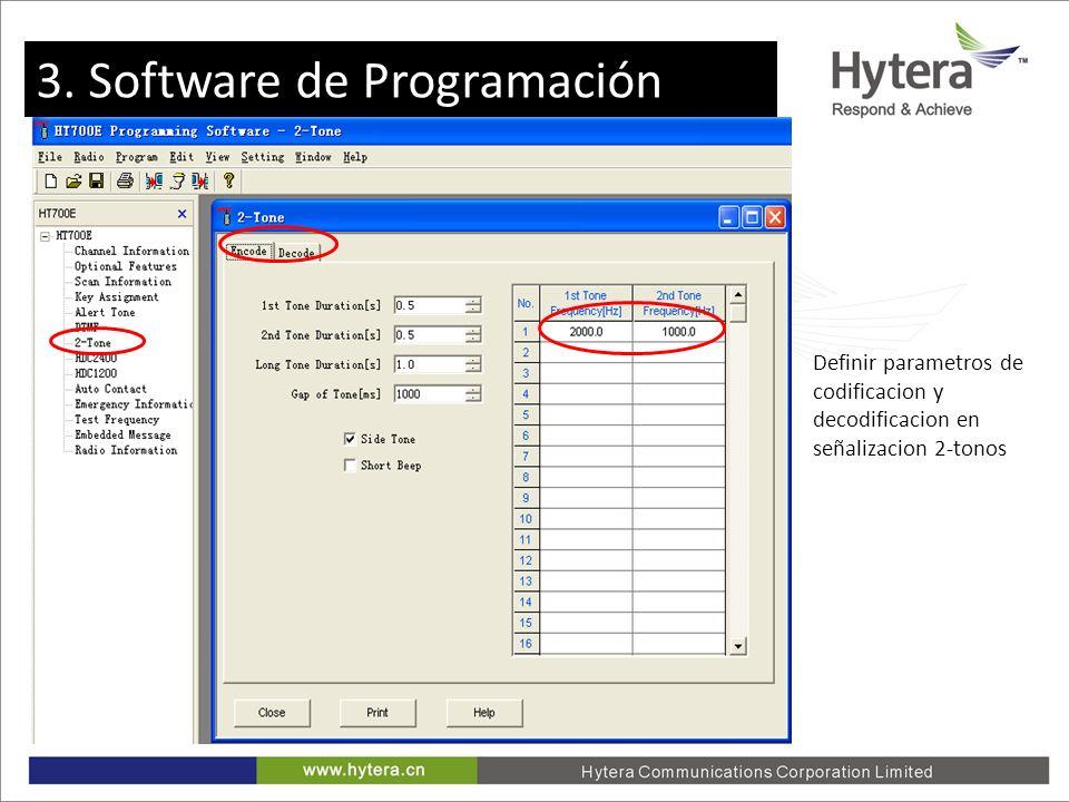 3. Programming software Definir parametros de codificacion y decodificacion en señalizacion 2-tonos 3. Software de Programación