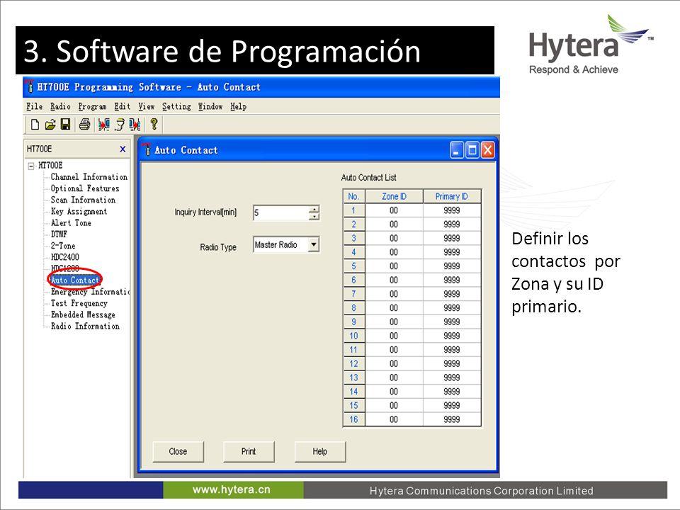 3. Programming software Definir los contactos por Zona y su ID primario. 3. Software de Programación