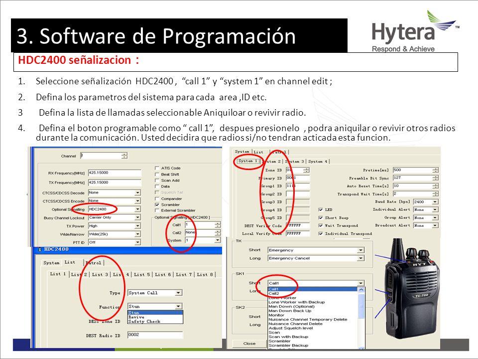 3. Programming software HDC2400 señalizacion 1.Seleccione señalización HDC2400, call 1 y system 1 en channel edit ; 2.Defina los parametros del sistem