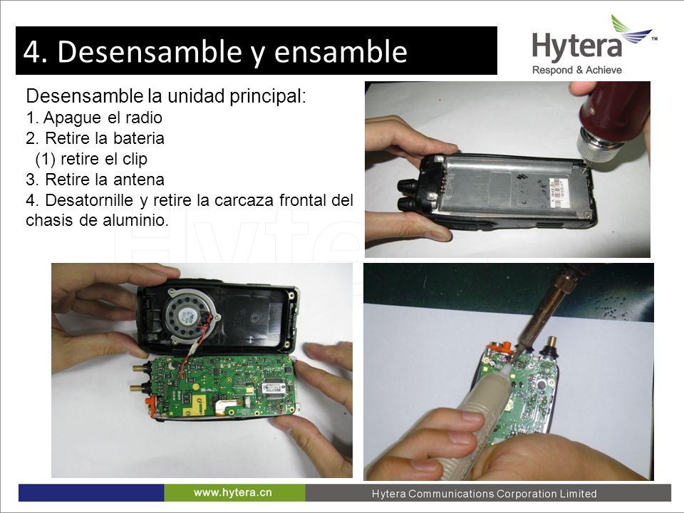 4. Disassemble and Assemble Desensamble la unidad principal: 1. Apague el radio 2. Retire la bateria (1) retire el clip 3. Retire la antena 4. Desator