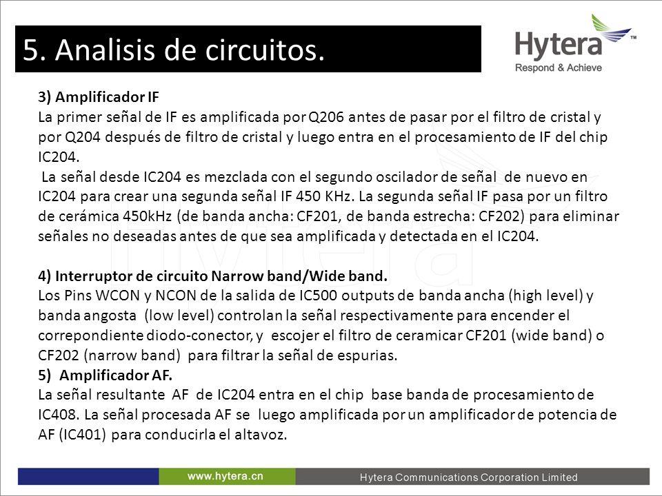 5. Circuit Analysis 3) Amplificador IF La primer señal de IF es amplificada por Q206 antes de pasar por el filtro de cristal y por Q204 después de fil