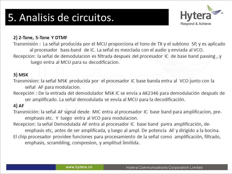 5. Circuit Analysis 2) 2-Tone, 5-Tone Y DTMF Transmisión : La señal producida por el MCU proporciona el tono de TX y el subtono SP, y es aplicado al p