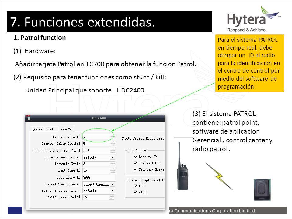 7. Extent Function 1. Patrol function (1)Hardware: Añadir tarjeta Patrol en TC700 para obtener la funcion Patrol. (2) Requisito para tener funciones c