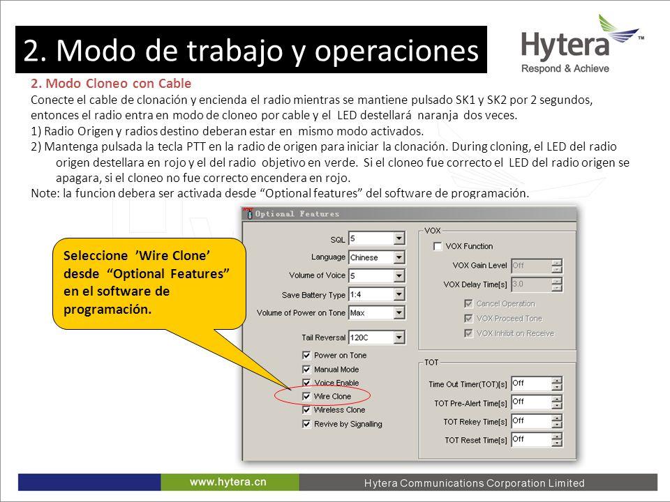 2. Working Mode and Operations 2. Modo Cloneo con Cable Conecte el cable de clonación y encienda el radio mientras se mantiene pulsado SK1 y SK2 por 2