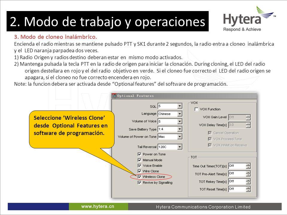 2. Working Mode and Operations 3. Modo de cloneo inalámbrico. Encienda el radio mientras se mantiene pulsado PTT y SK1 durante 2 segundos, la radio en