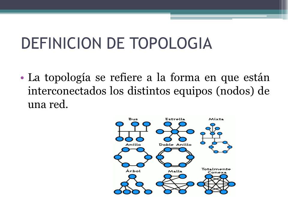 DEFINICION DE TOPOLOGIA La topología se refiere a la forma en que están interconectados los distintos equipos (nodos) de una red.