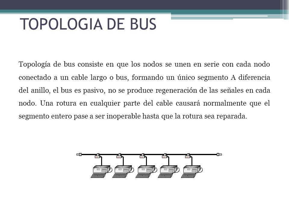 Topología de bus consiste en que los nodos se unen en serie con cada nodo conectado a un cable largo o bus, formando un único segmento A diferencia de