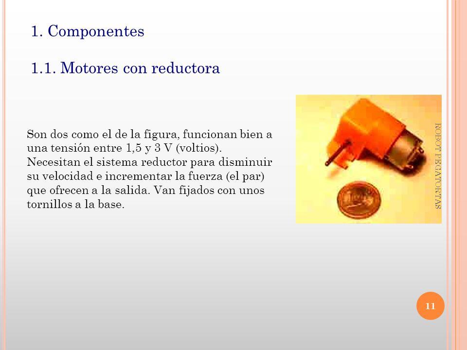 1. Componentes 1.1. Motores con reductora Son dos como el de la figura, funcionan bien a una tensión entre 1,5 y 3 V (voltios). Necesitan el sistema r