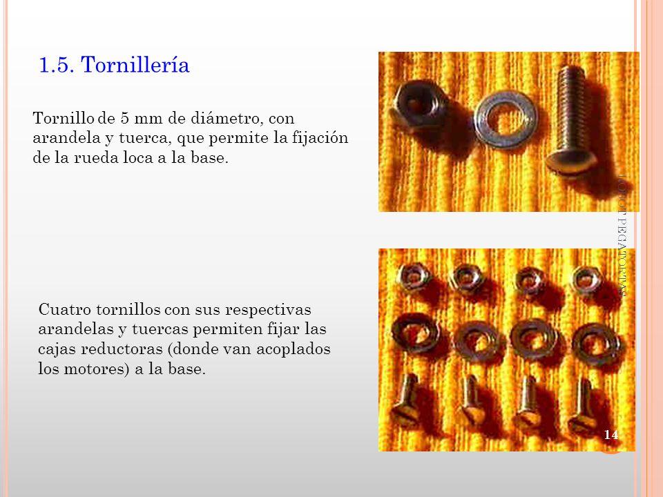 1.5. Tornillería Tornillo de 5 mm de diámetro, con arandela y tuerca, que permite la fijación de la rueda loca a la base. Cuatro tornillos con sus res