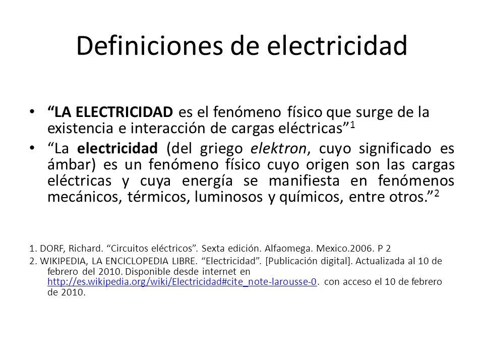 Definiciones de electricidad LA ELECTRICIDAD es el fenómeno físico que surge de la existencia e interacción de cargas eléctricas 1 La electricidad (de