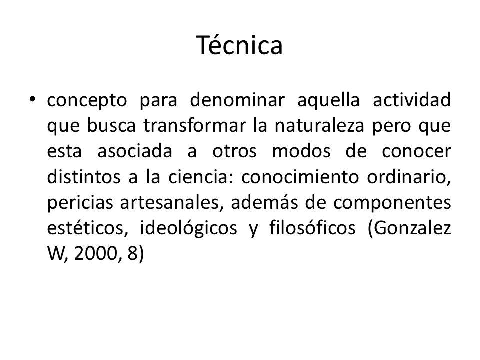 Técnica concepto para denominar aquella actividad que busca transformar la naturaleza pero que esta asociada a otros modos de conocer distintos a la c