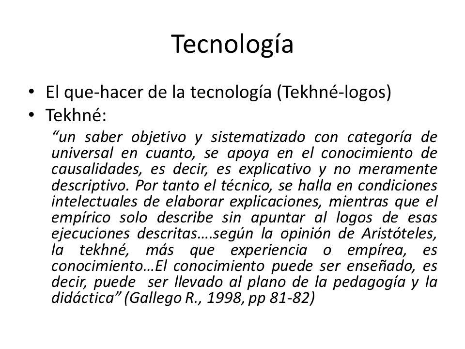 Tecnología El que-hacer de la tecnología (Tekhné-logos) Tekhné: un saber objetivo y sistematizado con categoría de universal en cuanto, se apoya en el
