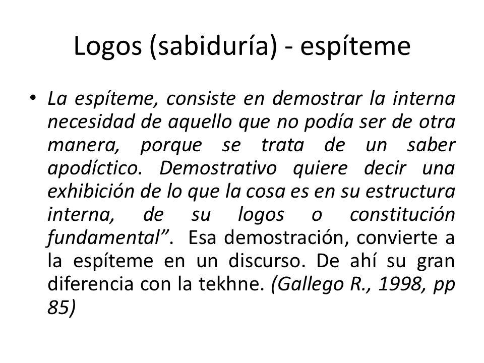 Logos (sabiduría) - espíteme La espíteme, consiste en demostrar la interna necesidad de aquello que no podía ser de otra manera, porque se trata de un