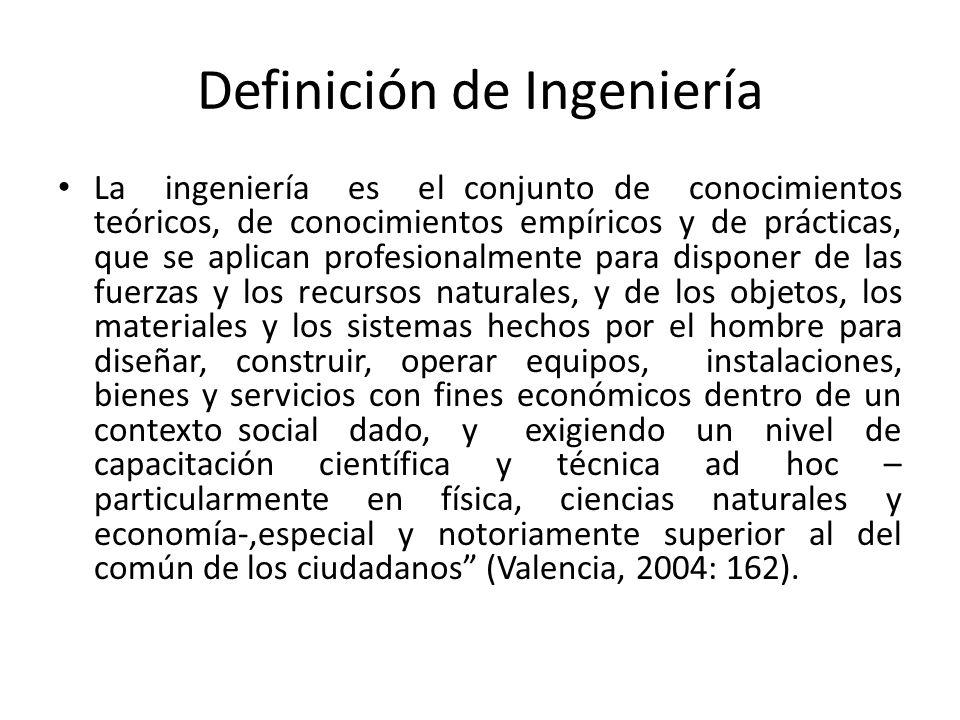 Definición de Ingeniería La ingeniería es el conjunto de conocimientos teóricos, de conocimientos empíricos y de prácticas, que se aplican profesional