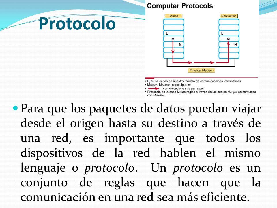 Protocolo Para que los paquetes de datos puedan viajar desde el origen hasta su destino a través de una red, es importante que todos los dispositivos