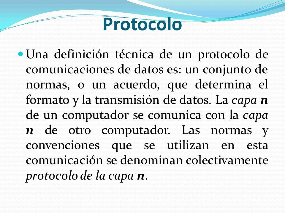 Protocolo Una definición técnica de un protocolo de comunicaciones de datos es: un conjunto de normas, o un acuerdo, que determina el formato y la tra