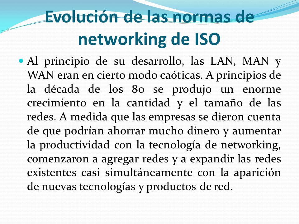 Evolución de las normas de networking de ISO Al principio de su desarrollo, las LAN, MAN y WAN eran en cierto modo caóticas. A principios de la década